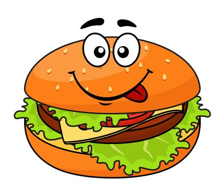 Lekkere vlezige cheeseburger op een sesam broodje met sla likken haar lippen in afwachting van een heerlijke snack, cartoon illustratie