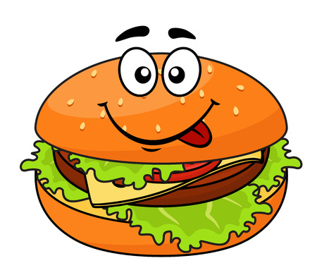 cheeseburger: Tasty meaty cheeseburger on a sesame bun with lettuce licking its lips in anticipation of a delicious snack, cartoon illustration Illustration
