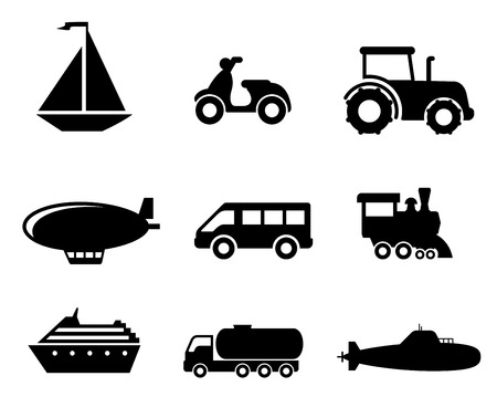 blimp: Collection of transport icons depicting a boat, scooter, tractor, blimp, van, train, liner, truck and airplane in black silhouette Illustration