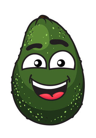 toothy smile: Green tropical avocado fruit with a wide toothy smile and pink tongue for a delicious salad ingredient, cartoon illustration isolated on white