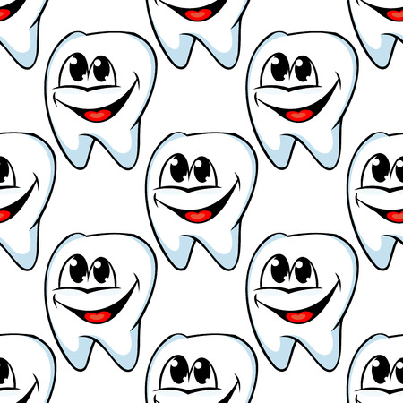 teeth cleaning: Repeat seamless pattern of happy healthy teeth with huge cheerful smiles in square format suitable for textile or wallpaper