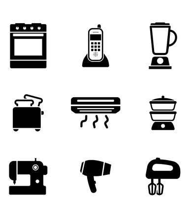 household objects equipment: Home appliance icons set