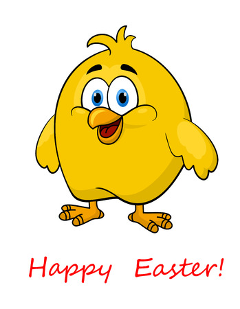 tuft: Happy cartoon Easter little yellow chicken with a tuft of feathers on its head and a happy expression, isolated on white Illustration