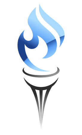llamas de fuego: Flaming antorcha estilizada con una llama de gas azul que fluye de dise�o industrial