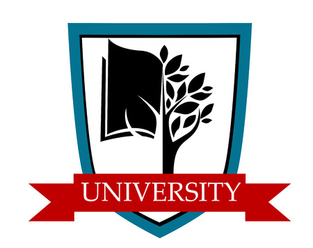 enclosing: University emblem with a shield enclosing a tree and book depicting learning with a red ribbon banner with the text University Illustration