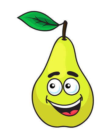 toothy smile: Happy grinning ripe pear fruit with a toothy smile and single green leaf, cartoon illustration isolated on white