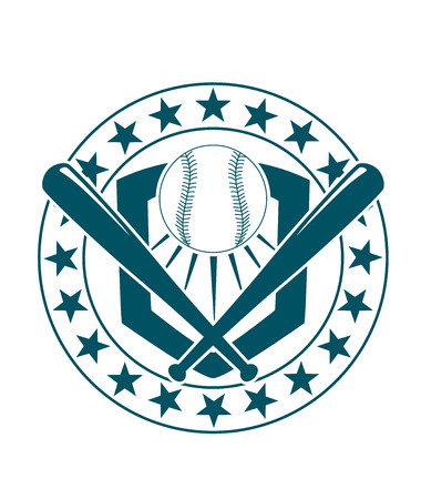 enclosing: Blue and white baseball emblem or banner with a circular frame with stars around it enclosing a ball and crossed bats for sports design Illustration