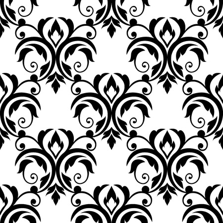 scrolling: Scrolling floral design elements in a repeat black and white seamless pattern in square format suitable for tiles, textile and wallpaper design