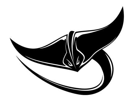 Zwart-wit cartoon van een zwemmende sting ray of manta ray met een lange gebogen staart en haar borstvinnen uitgespreide