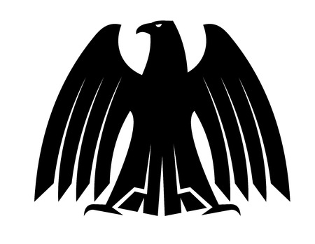 outspread: Silhouette of a proud eagle with outspread wing and tail feathers looking to the side for heraldry design
