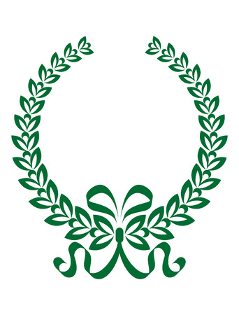 enclosing: Green and white foliate laurel wreath with a twirling decorative ribbon enclosing black copyspace Illustration