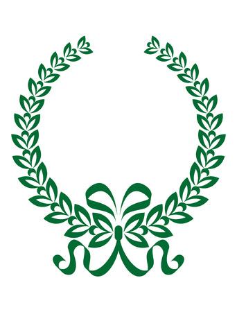 enclosing: Verde e bianco foliate corona di alloro con un nastro decorativo twirling racchiude nero copyspace Vettoriali