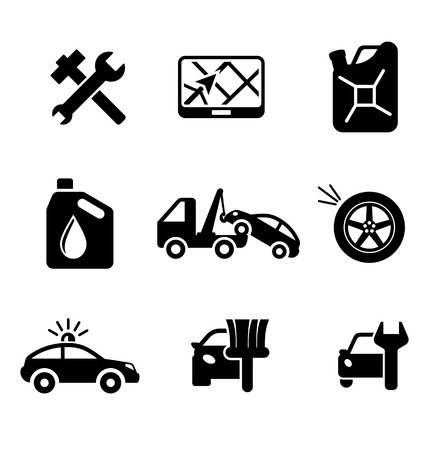 safety officer: Set of car service and automobile icons