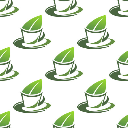 Seamless pattern in square format of a cup of organic green tea with a fresh green leaf protruding from a teacup Vector