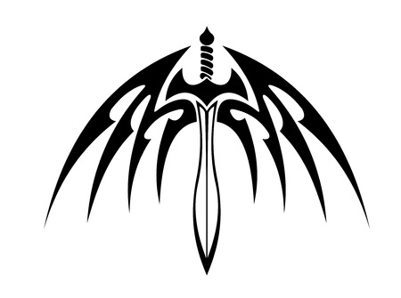 outspread: Winged sword with outspread wings and sharp barbed feathers for tribal tattoo design