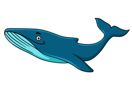 baleen: Large blue whale mascot with a happy smile swimming underwater, cartoon illustration Illustration