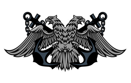 Fierce double headed Imperial eagle icon on crossed anchors with chains for heraldic design Vector