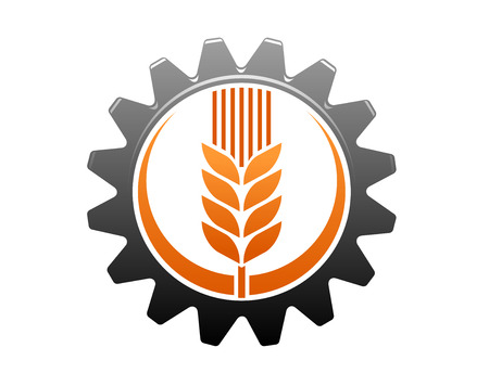 agriculture industry: Agriculture and industry icon with a golden ear of ripe wheat enclosed within a toothed gear wheel