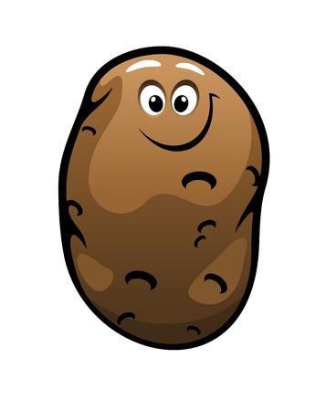 potato plant: Smiling cartoon farm fresh potato vegetable for a healthy vegetarian diet isolated on white