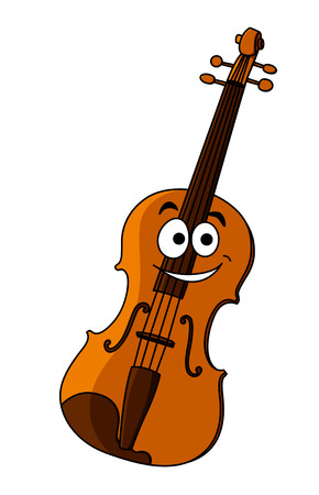 fiddle: Smiling happy classical wooden violin for music performances and design, cartoon illustration isolated on white