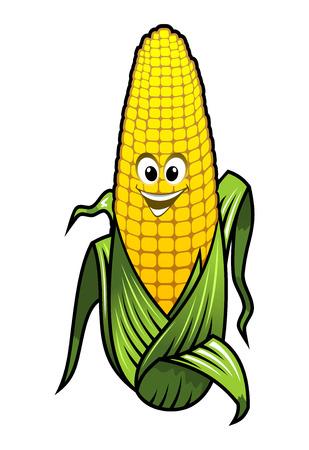 elote caricatura: Saludable verduras frescas de maíz amarillo en la mazorca con una sonrisa feliz grande y cubierta de hojas verdes