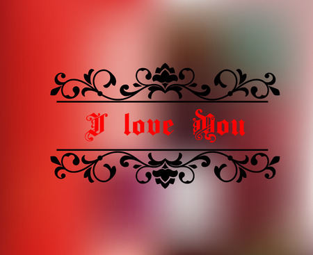 I love you header on red abstract background for love concept or greeting card design Vector