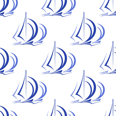 regatta: Seamless pattern of blue sailboats or yachts at sea with billowing sails in square format suitable for nautical wallpaper or textile