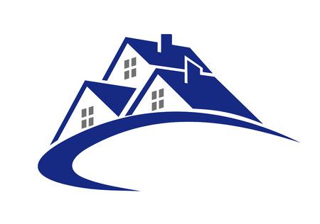 Modern cottage of huis symbool voor vastgoedsector ontwerp Stock Illustratie