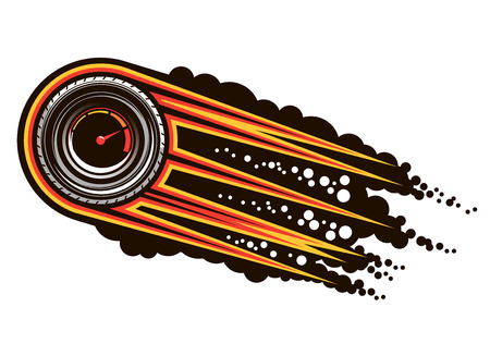 inset: Red hot speeding motorsports icon with a tyre inset with a speedometer trailing flames and smoke, cartoon illustration