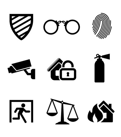 alarm system: Safety and security icons set Illustration