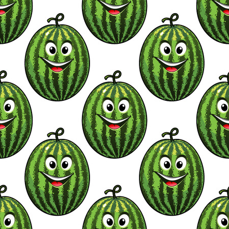 toothy smile: Happy refreshing green watermelon with a big toothy smile and red tongue in a colorful seamless pattern in square format