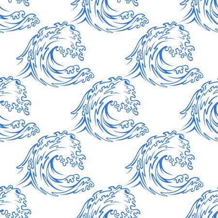 vague ocean: Aper�u Dainty pattern d'une vague de l'oc�an bleu curling au format carr� appropri�s au papier peint, tuiles et la conception de tissu