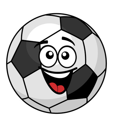 goofy: Goofy black and white soccer ball with a big happy toothy smile, cartoon illustration isolated on white