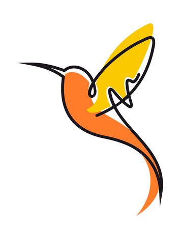 Doodle schets van een kleurrijke vliegende kolibrie in geel en oranje met uitgespreide vleugels en een lange curviong snavel, zijaanzicht