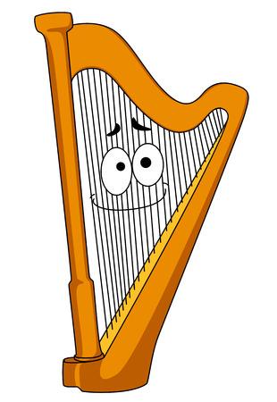 Arpa clásica de madera con una cara sonriente en las cuerdas, ilustración de dibujos animados aislado en blanco Ilustración de vector