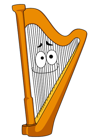 Classical wooden harp with a smiling face on the strings, cartoon illustration isolated on white Illustration