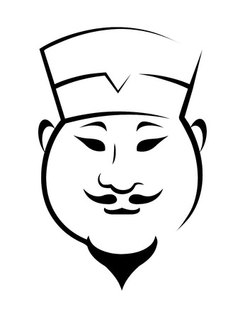 Doodle sketch of a Chinaman with a small goatee beard wearing a chef hat Vector