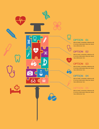 hypodermic: Medicine and healthcare infographic elements  with text and options to the right and a hypodermic syringe made up of an assortment of colorful medical icons alongside Illustration