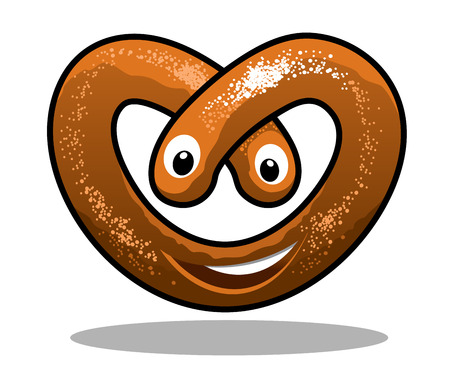 crisp: Fun happy curly crisp brown pretzel in a heart shape with a smiling mouth and eyes, cartoon  illustration Illustration