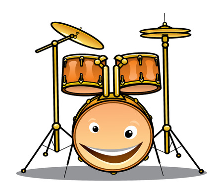 Set of drums and cymbals for a band with a happy smiling drum in the foreground, cartoon illustration isolated on white Illustration