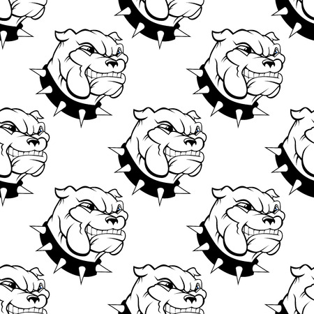 snarling: Seamless pattern of a large watchdog with a spiked collar, heavy jowls and an evil toothy grin