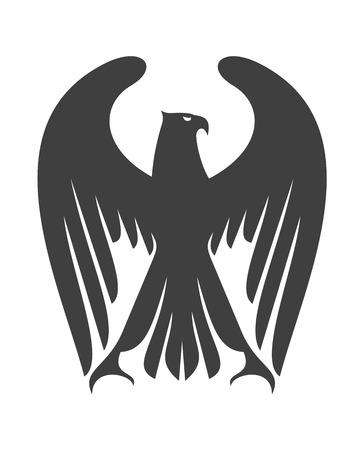halcones: Águila o halcón Majestic con largas plumas de las alas levantadas por encima de su cabeza, silueta en blanco y negro aislado en blanco
