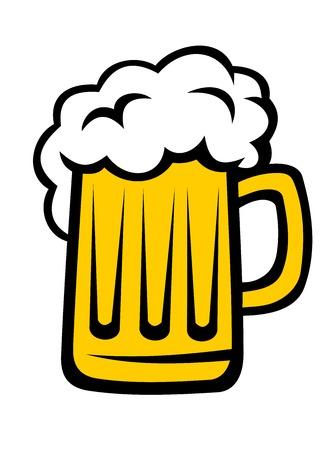 白で隔離されるガラスの大型ジョッキで泡の大きな頭とビールのパイント  イラスト・ベクター素材