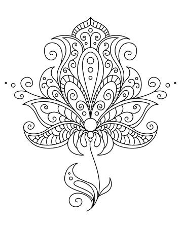 adornment: Vintage style dainty black and white floral element with flowing swirls and curlicues in a vector outline illustration