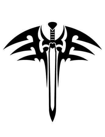 Tatouage avec l'épée dans le style tribal isolé sur blanc pour la conception de l'héraldique Banque d'images - 26847309