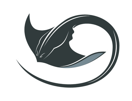 スイミング マンタや巻き毛の尾およびシーライフ概念を広げた胸鰭とスティング レイ  イラスト・ベクター素材