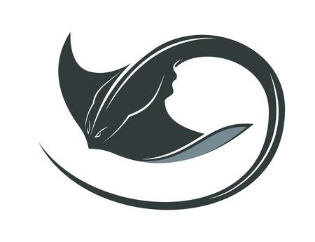 해양 개념 곱슬 꼬리와 펼쳐진 가슴 지느러미와 만타 레이 또는 가오리 수영