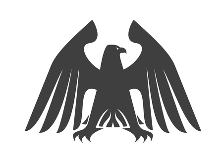 outspread: Silhouette of a majestic eagle standing with outspread wings and feet and flowing wing feathers looking to the right for heraldry design