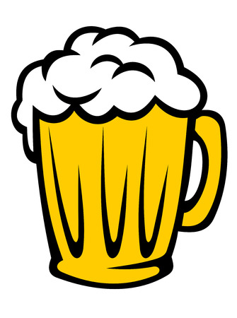 tankard: Tankard full of golden frothy beer with a good head of froth, cartoon illustration isolated on white