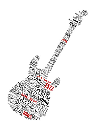 blues music: Electric guitar shape composed of text relating to music, jazz and audio for musical design Illustration